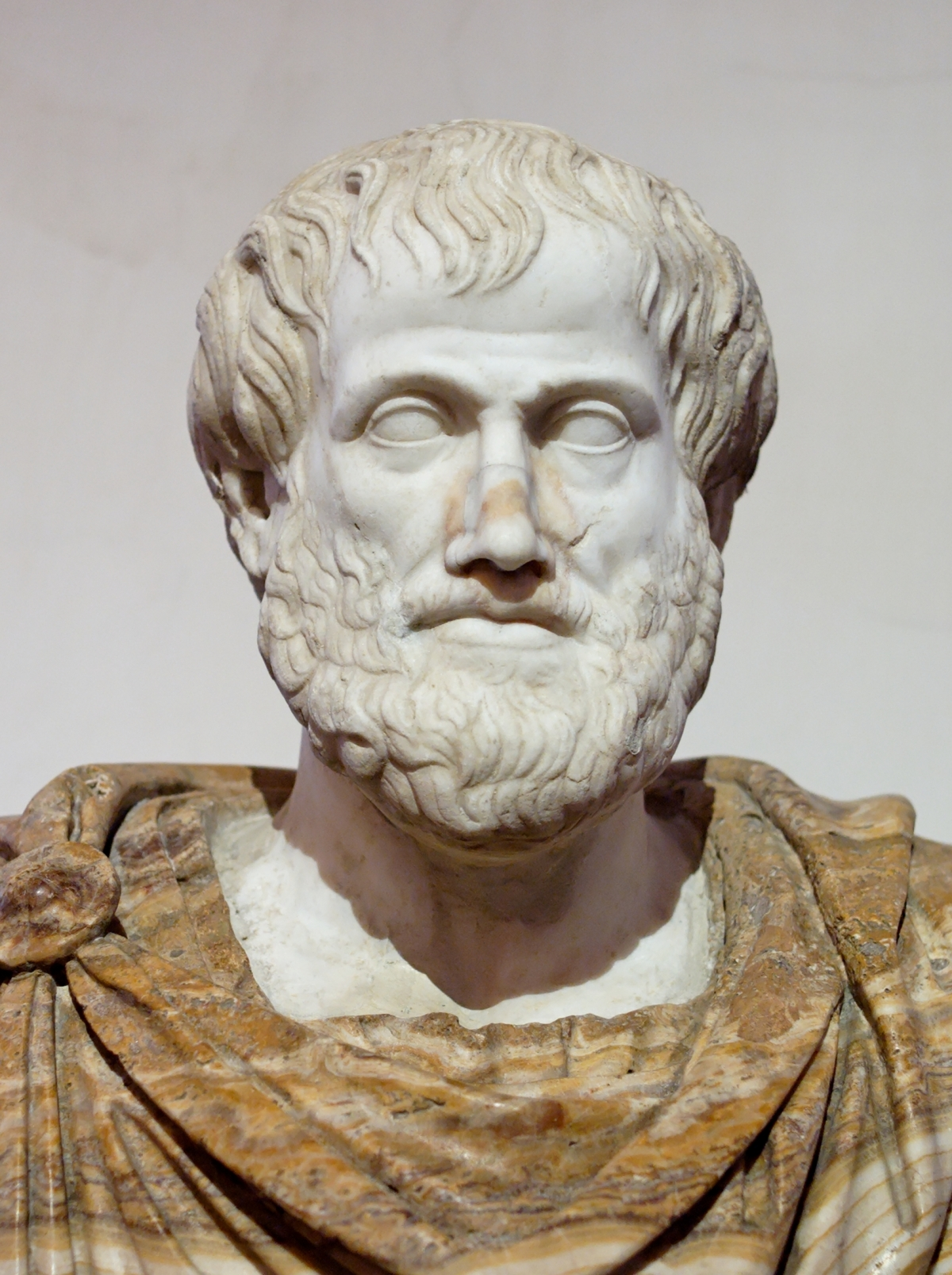 Buste van Aristoteles. Marmer, Romeinse kopie naar een Grieks origineel van brons door Lysippos uit 330 voor onze jaartelling. De mantel van albast is een moderne toevoeging. Foto: Jastrow 2006.