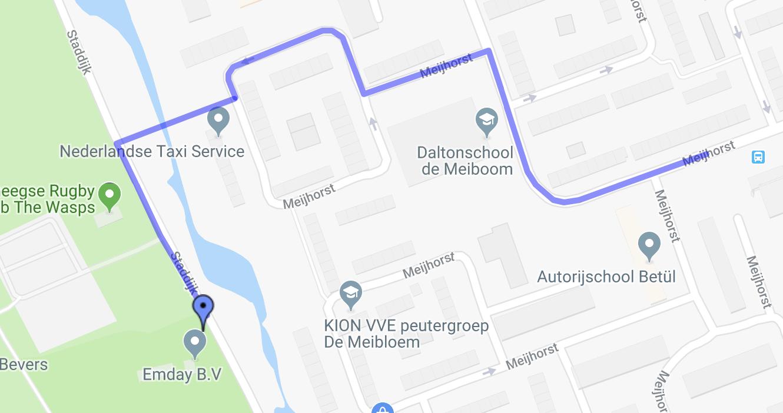 Route vanaf bushalte Sporthal Meijhorst