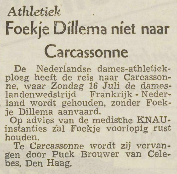De schorsing van Foekje Dillema wordt vermeld in een klein berichtje, zonder verdere uitleg. Utrechts Nieuwsblad van 14 juli 1950