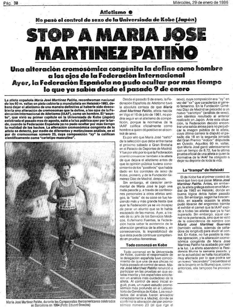 De schorsing van María José Martínez Patiño wordt breed uitgemeten in de Spaanse dagbladen. In de artikelen wordt ze een man genoemd. Spaanse krant van 29 januari 1986