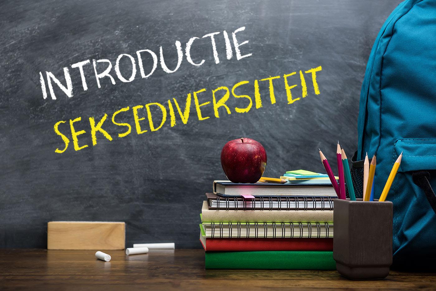 Schoolbord met daarop geschreven de woorden 'introductie seksediversiteit' en met op de voorgrond een appel, een wisser, een schooltas een aantal schriften of boeken en een bakje met een aantal potloden.