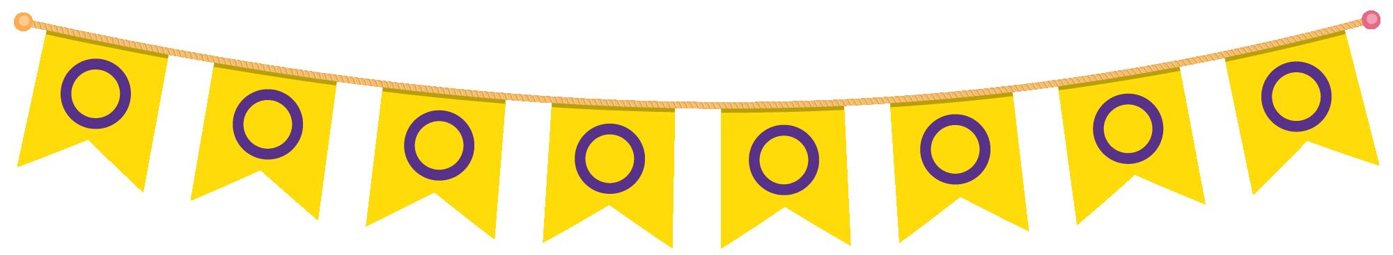 Paginaversiering: een slinger met intersekse-vlaggetjes