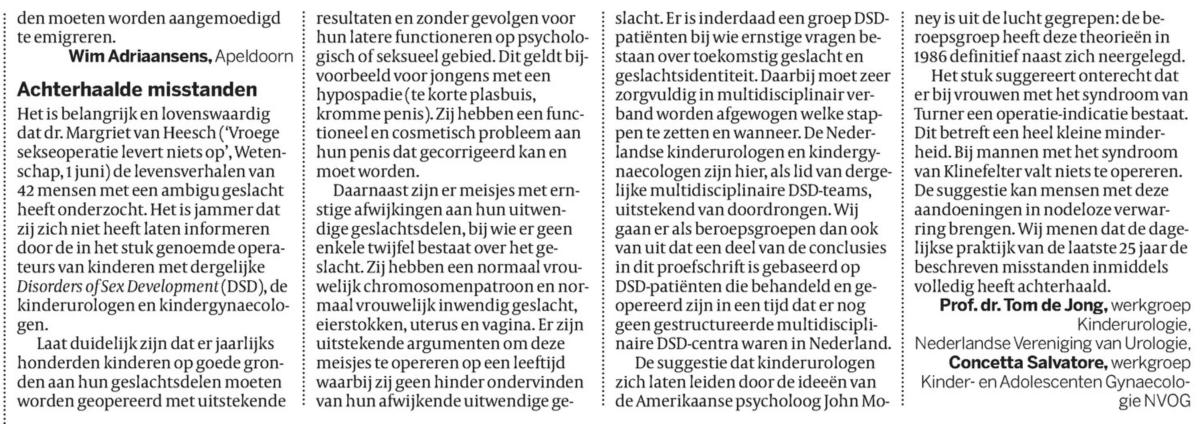Ingezonden brief naar de redactie van de Volkskrant door twee kinderartsen, waarin zij beweren dat jaarlijks honderden genitale operaties worden uitgevoerd (6 juni 2015)